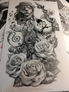 custom sleeve tattoo design with Lion, roses, lance and pearl created by maingriz.com