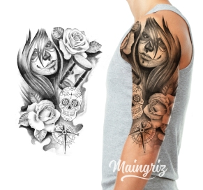 Half Sleeve Tattoo Design chicano