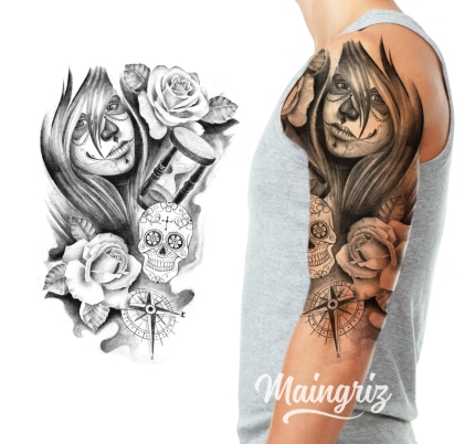 Sleeve Half Sleeve World Tattoo Design
