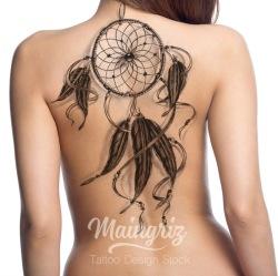 dreamcatcher for back tattoo design