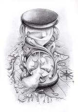 compass and hourglass tattoo design