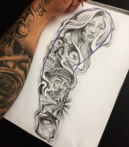 chicano sleeve tattoo design