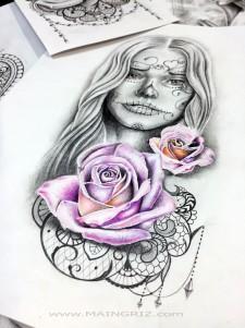 roses and catrina tattoo design