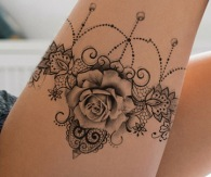 rose and pearl with sexy lace garter tattoo design