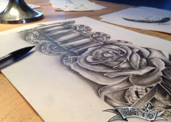 rose and sexy lace garter tattoo design