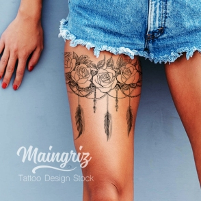 lace garter with rose and feather tattoo design