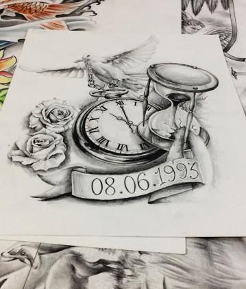 hourglass and clock tattoo design