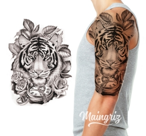tiger half sleeve tattoo design