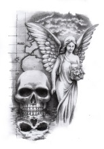 skull and angel tattoo design