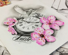 flowers and colomb with clock tattoo design