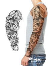 black and grey sleeve tattoo design