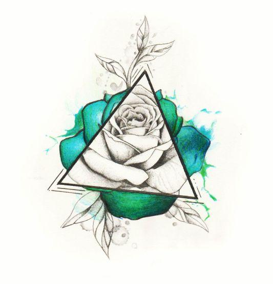 watercolor geometric rose tattoo design