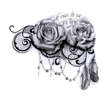 2 sexy realistic roses tattoo design for woman with lace, feathers and pearls for woman created by Maingriz.com