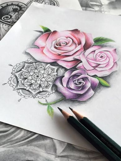 3 sexy realistic roses tattoo design with mandala for woman created by Maingriz.com