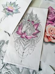 Unicorn mandala tattoo design for woman created by Maingriz.com