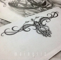Lace garter tattoo design for woman created by Maingriz.com