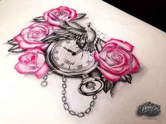 Rose with clock tattoo for woman created by Maingriz.com