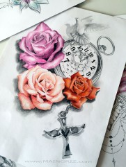 Three roses tattoo design with clock, dove and cross for woman created by Maingriz.com