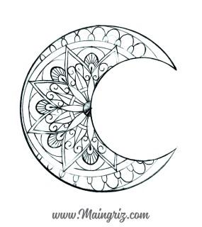 Mandala moon tattoo design for woman created by Maingriz.com