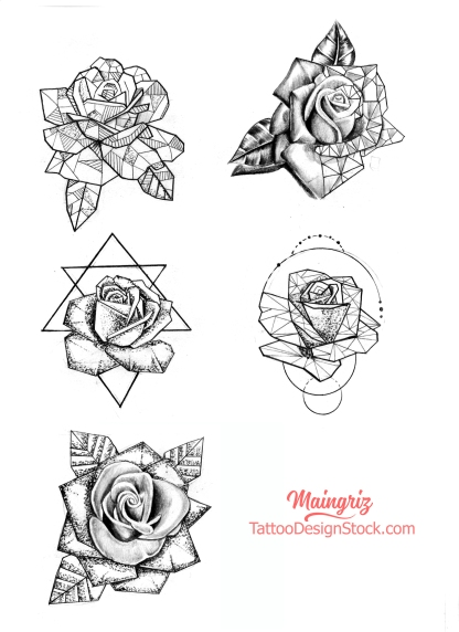 5 geometric roses tattoo design for woman created by Maingriz.com
