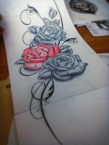 Realistic roses tattoo for woman created by Maingriz.com
