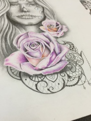 Pink rose tattoo design with lace and pearls for woman created by Maingriz.com