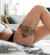 Sexy rose with lace garter tattoo design for woman created by Maingriz.com