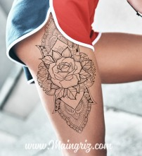 Rose linework with mandala tattoo for woman created by Maingriz.com