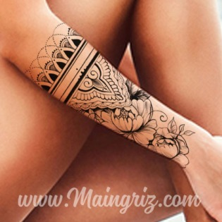 Sexy mandala tattoo with hibiscus for woman created by Maingriz.com