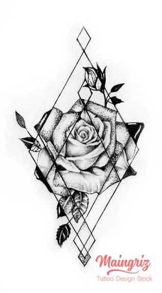 Geometric rose tattoo for woman created by Maingriz.com