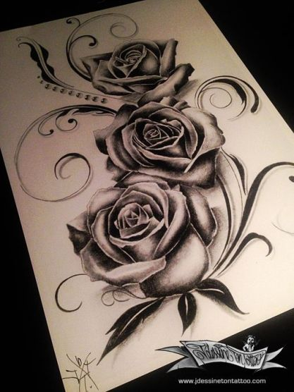 Sexy realistic roses tattoo design for woman created by Maingriz.com