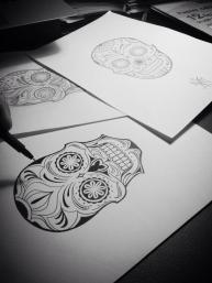 Mexican skull custom tattoo design