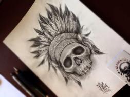 indian skull custom tattoo design