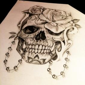 skull with roses custom tattoo design