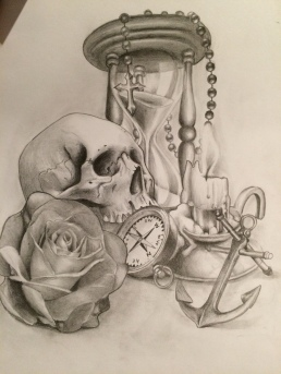 skull with hourglass and rose custom tattoo design