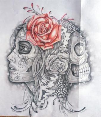 skull and catrina custom tattoo design