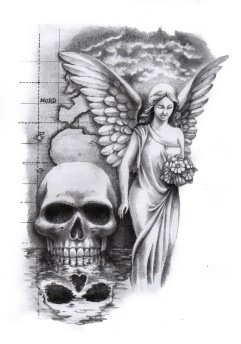 skull with angel custom tattoo design