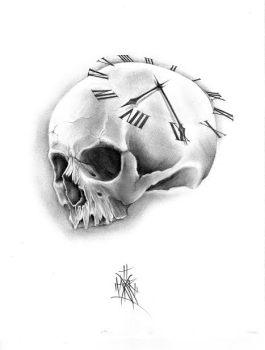 skull & clock custom tattoo design