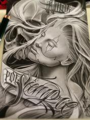 skull chicano custom tattoo design