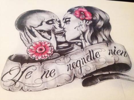 skull love custom tattoo design