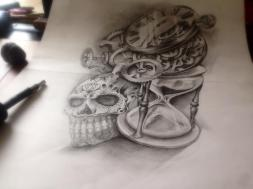 skull with hourglass custom tattoo design