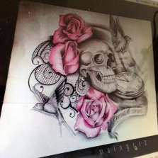 skull with roses and clock custom tattoo design