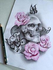skull and rose custom tattoo design