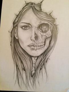 skull and girl face custom tattoo design