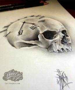 skull and clock custom tattoo design
