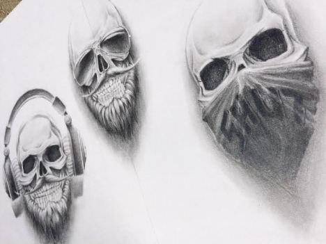 chicano skull custom tattoo design