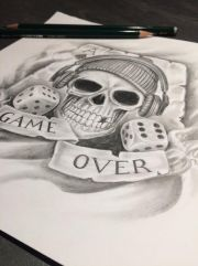 game over skull custom tattoo design