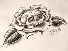 skull in rose custom tattoo design