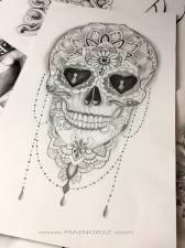 sexy mexican skull custom tattoo design
