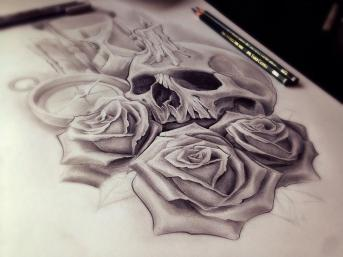 skull and roses custom tattoo design